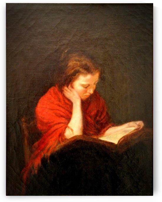 Woman reading by Francois Bonvin