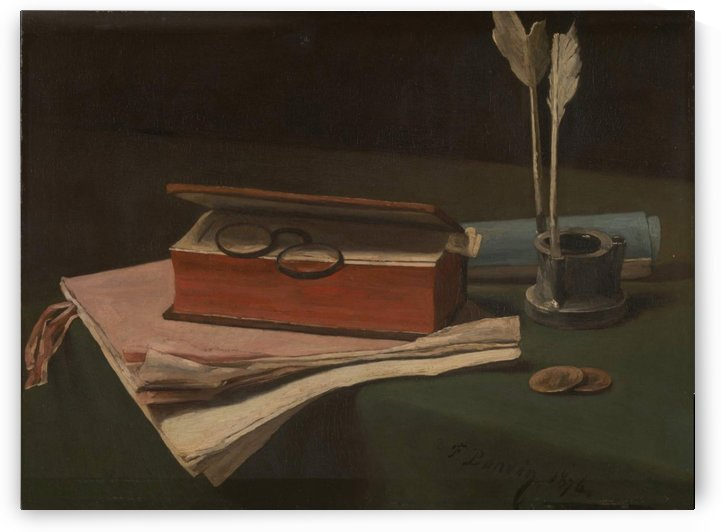 Still Life with Book, Papers and Inkwell by Francois Bonvin