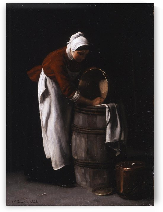 A woman cleaning a barrel by Francois Bonvin