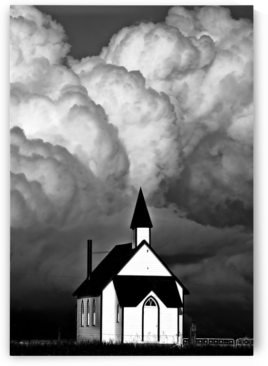 Storm and Church Saskatchewan Canada by Mark Duffy