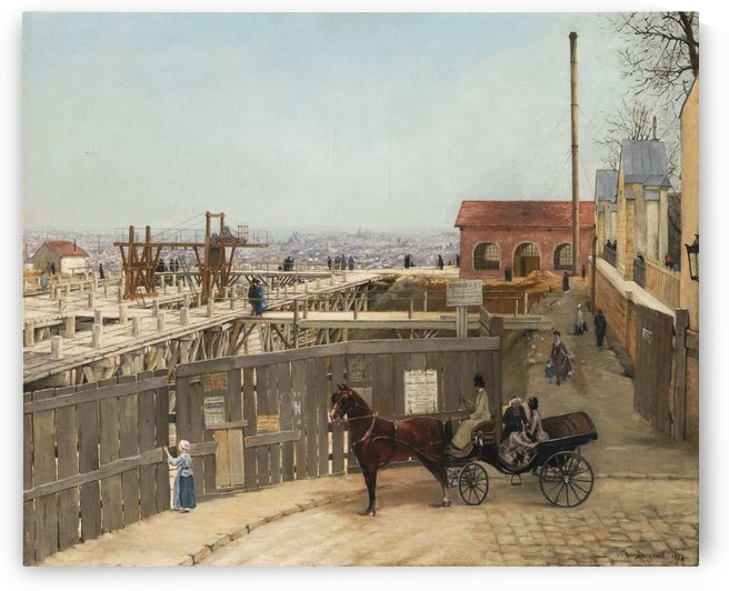 The construction of Sacre-Coeur, Montmartre by Victor Paul Joseph Dargaud