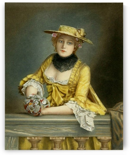 Lady in yellow dress by Gustave Jean Jacquet