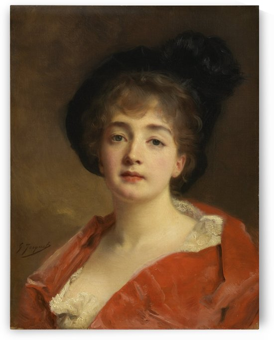 Woman in red by Gustave Jean Jacquet