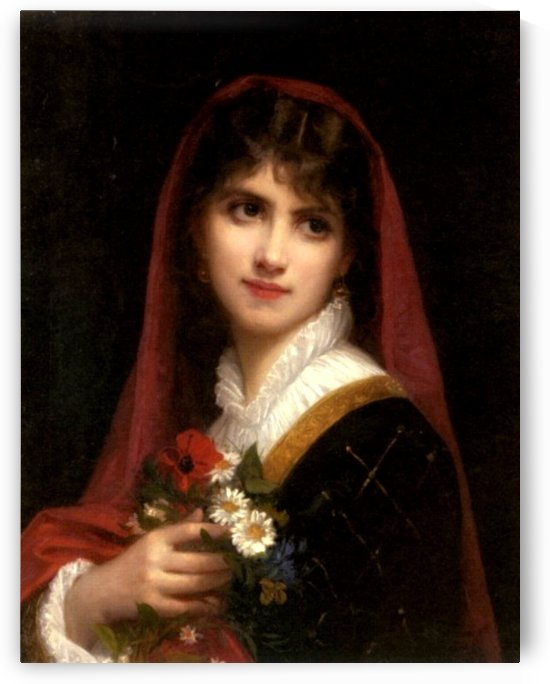 A young beauty wearing a red veil by Gustave Jean Jacquet