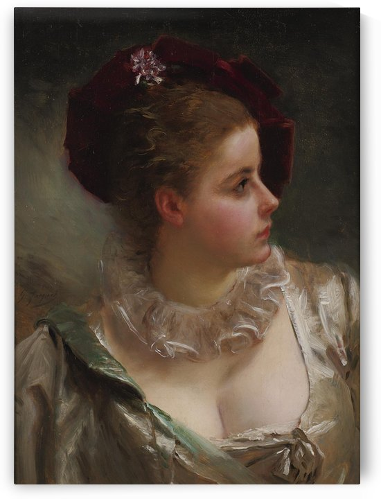 Young beauty with red hat by Gustave Jean Jacquet