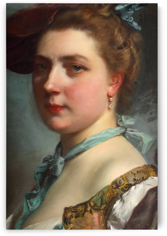 Young lady wearing a hat by Gustave Jean Jacquet
