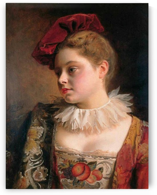 Young lady wearing a red hat by Gustave Jean Jacquet