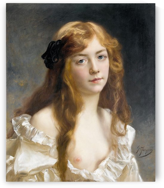 Young girl with gold hair by Gustave Jean Jacquet