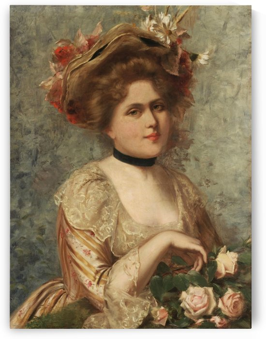 Lady with roses by Gustave Jean Jacquet