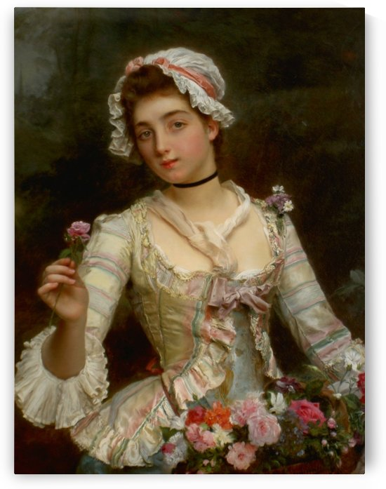 Young girl with roses by Gustave Jean Jacquet