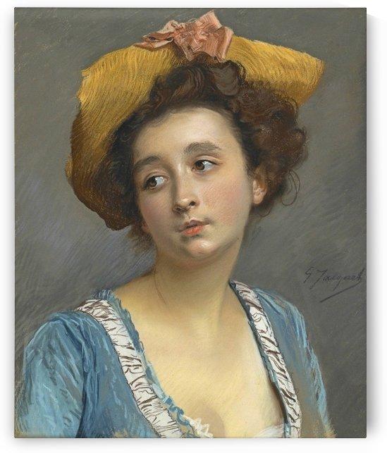 La belle en bleu by Gustave Jean Jacquet