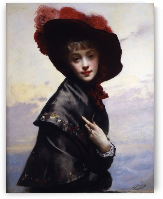 Girl with hat by Gustave Jean Jacquet