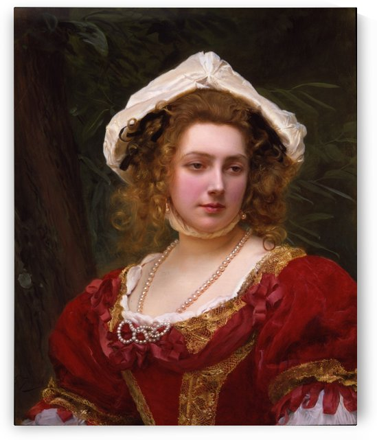 Young girl with red dress by Gustave Jean Jacquet