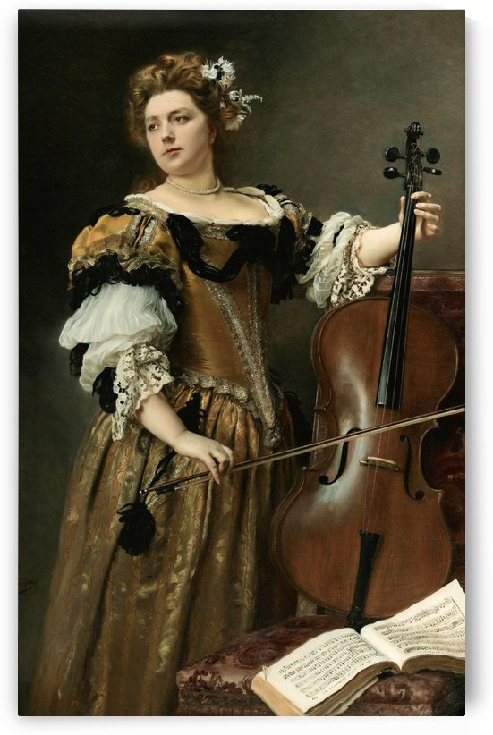 The cello player by Gustave Jean Jacquet