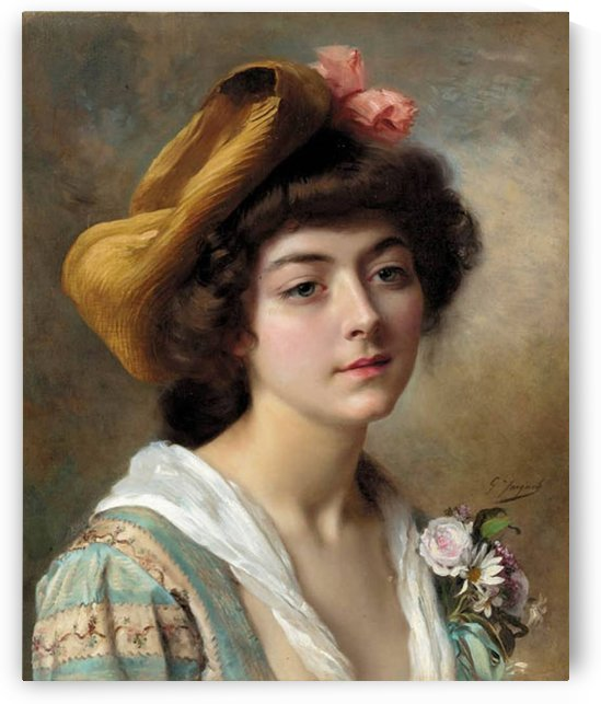 Beautiful girl with flowers by Gustave Jean Jacquet