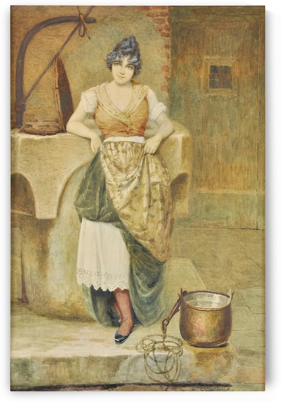 A woman cleaning by Vincent G. Stiepevich