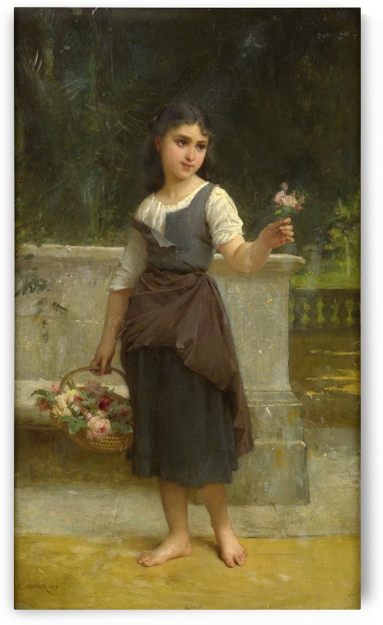 A girl with a flower by Emile Munier