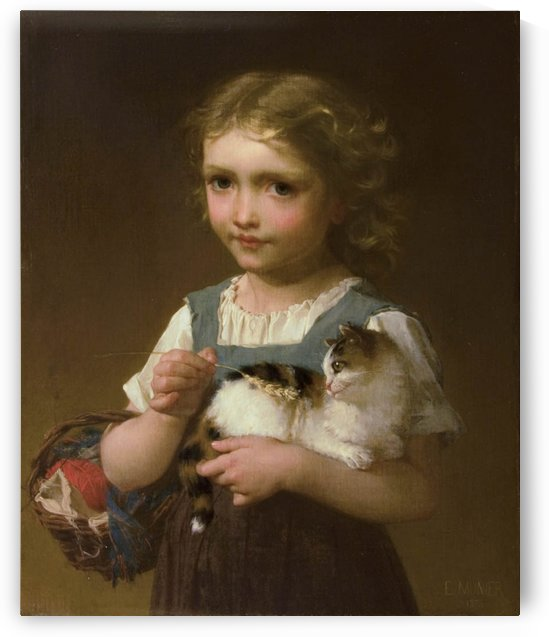 A little girl and her cat by Emile Munier