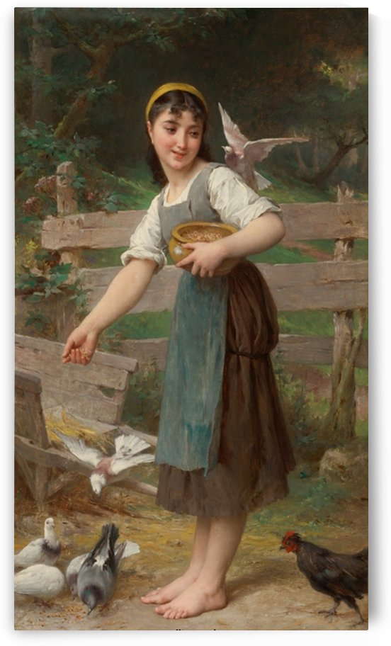 Feeding the doves by Emile Munier