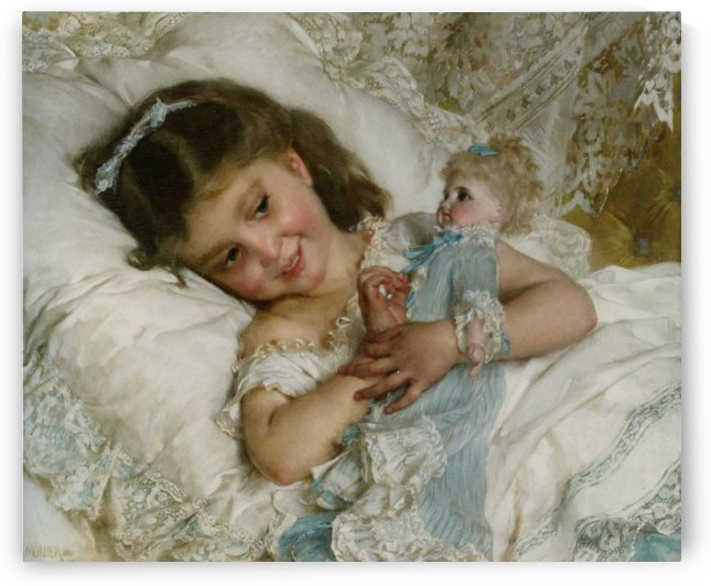 A girl and her doll by Emile Munier
