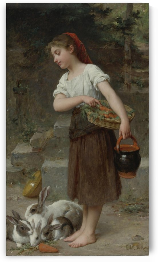 A girl feeding carrots to the rabbits by Emile Munier