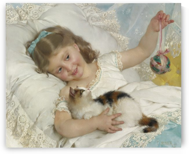 Petite fille and chat by Emile Munier
