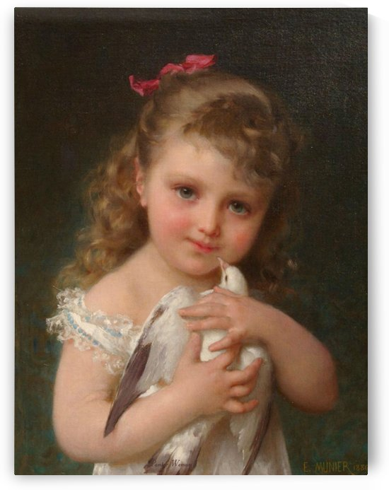 A girl and her dove by Emile Munier