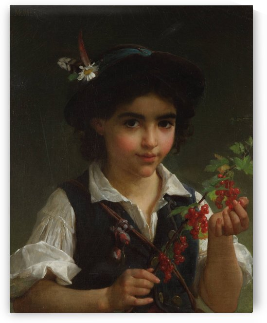A boy holdding a branch with red fruits by Emile Munier