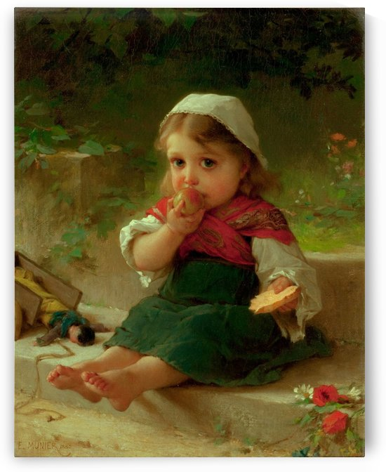 Portrait of a child eating apples by Emile Munier