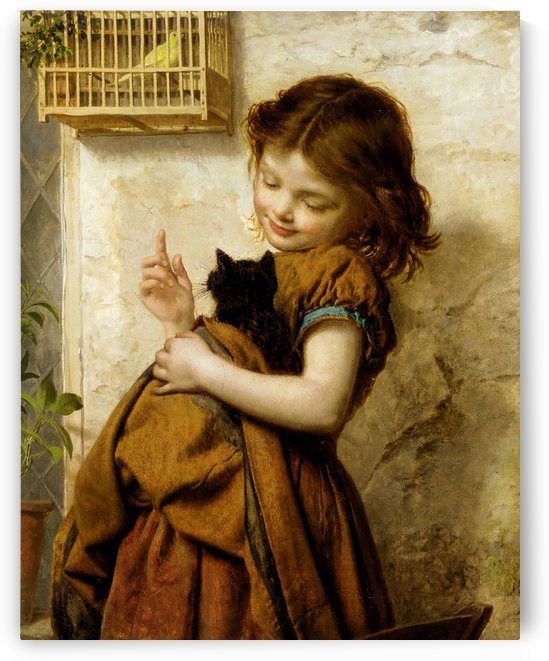 A child with her pets by Emile Munier