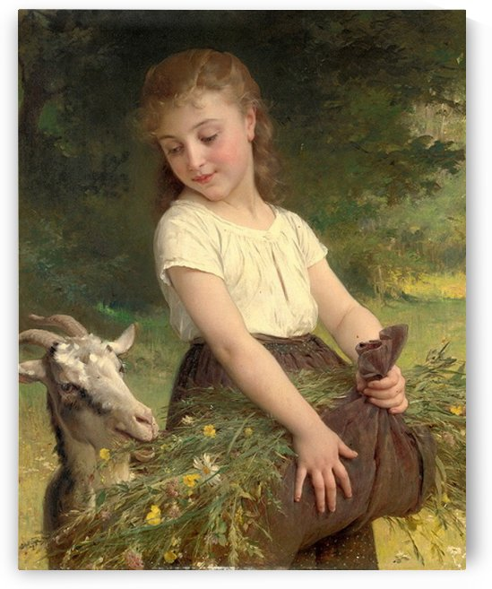 A girl feeding her goat by Emile Munier