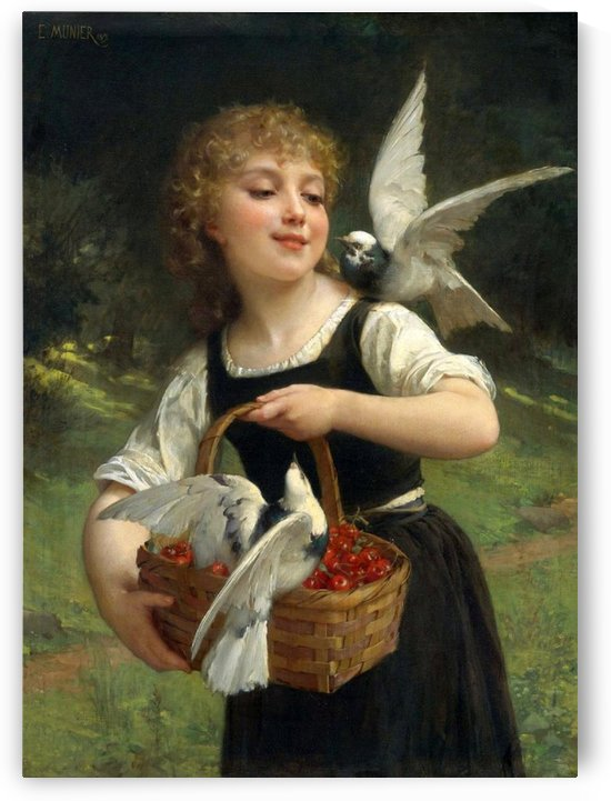 Doves and a girl with a basket full of cherries by Emile Munier
