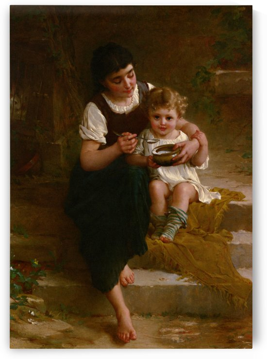 Feeding a baby by Emile Munier