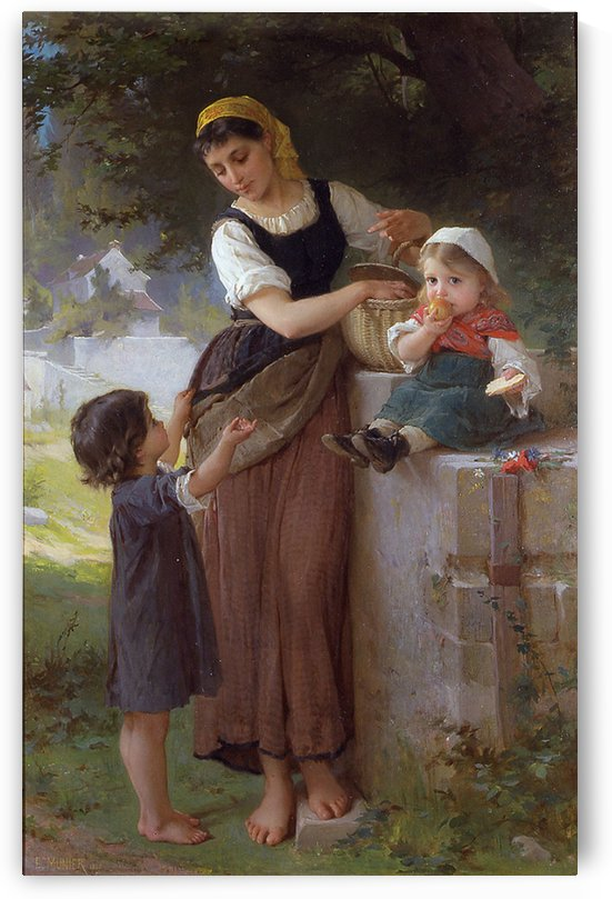Children with their mother by Emile Munier