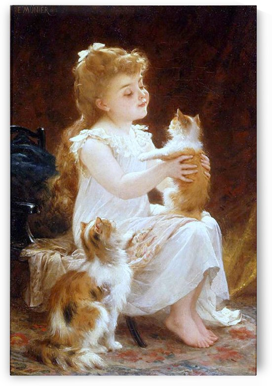 A girl and her kittens by Emile Munier
