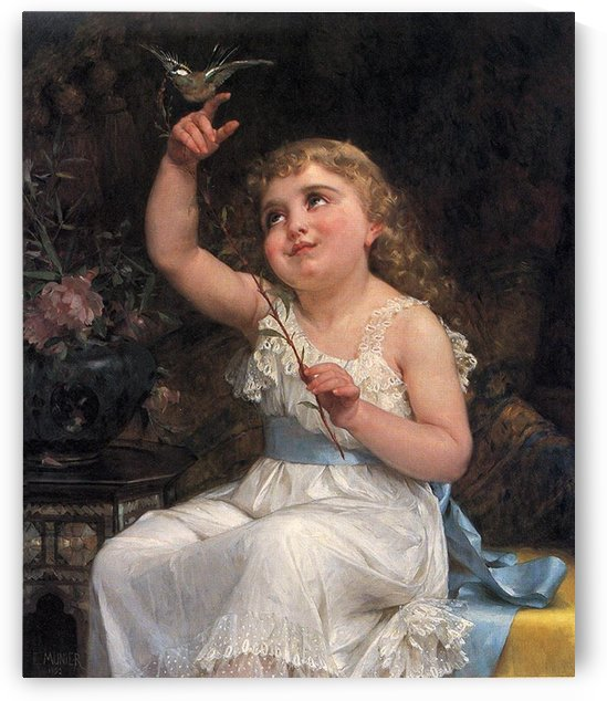 A girl and a little bird by Emile Munier