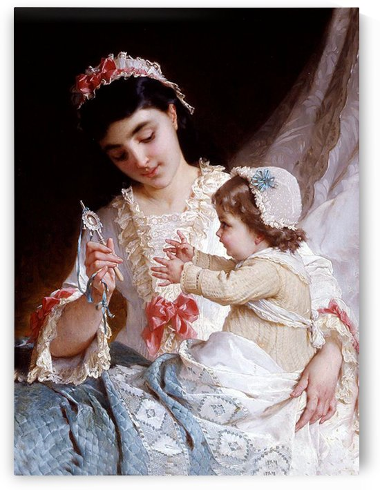 Mother entertaining the infant by Emile Munier