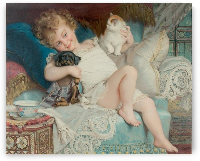 A child with a cat and a dog by Emile Munier