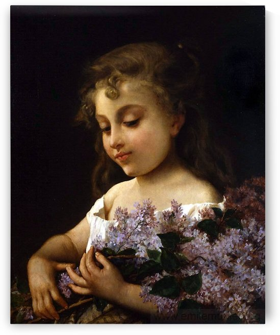 A girl with purple flowers by Emile Munier