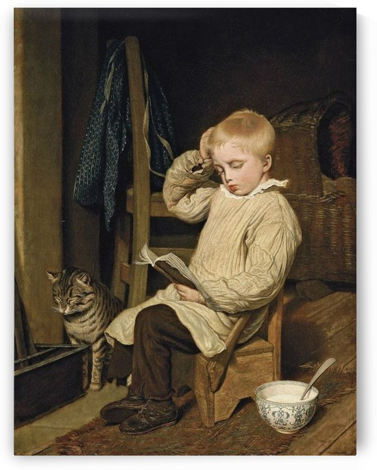 A small child reading to a cat by Emile Munier