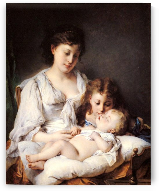 Mother, daughter and baby by Emile Munier