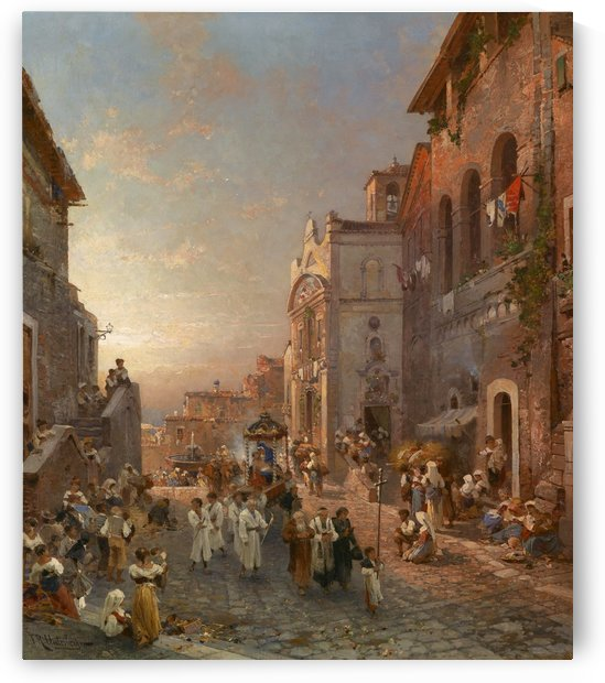 People in the market streets by Franz Richard Unterberger