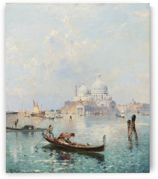Sailing in a gondola by Franz Richard Unterberger