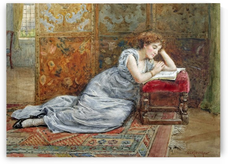 A woman reading by George Goodwin Kilburne