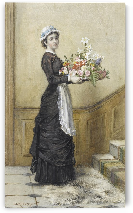 A maid with a bouquet of flowers by George Goodwin Kilburne