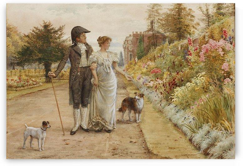 A garden stroll by George Goodwin Kilburne