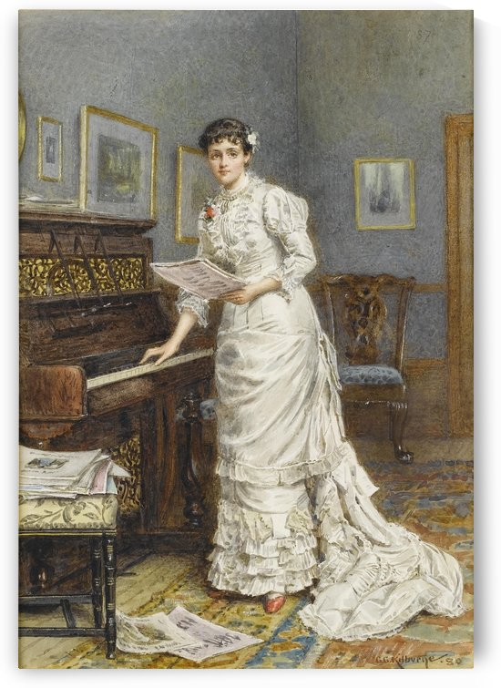 A young woman at a piano 1880 by George Goodwin Kilburne