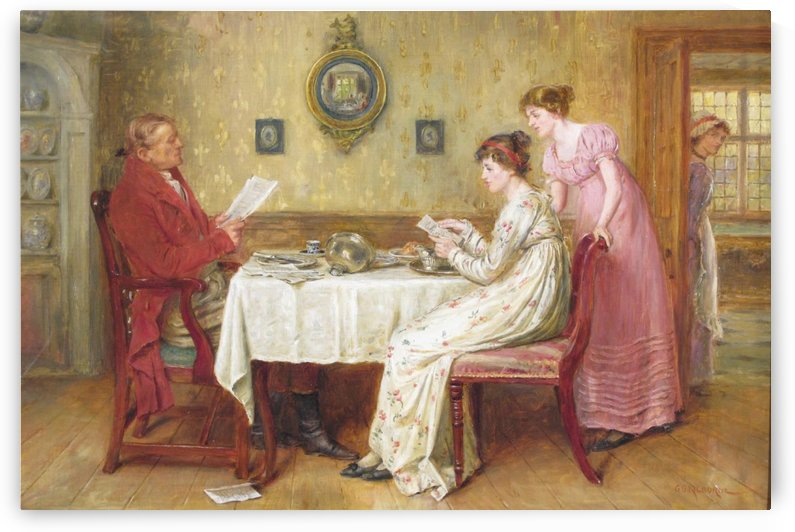 Rreading the news by George Goodwin Kilburne