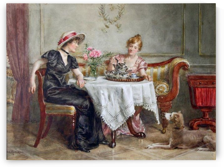 A tea metting by George Goodwin Kilburne