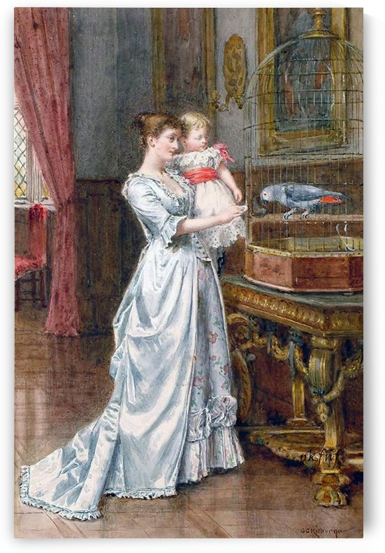 Mother and child watching the bird by George Goodwin Kilburne
